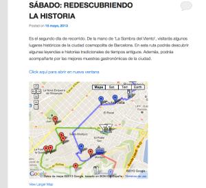 Así se muestran las rutas que están marcadas en el mapa y que tienen una enumeración de todos los lugares a visitar.